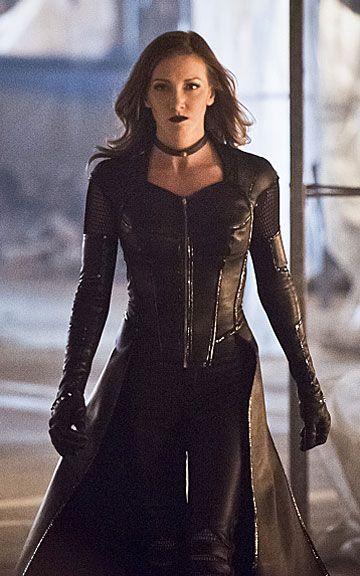 Katie Cassidy Arrow TV Series Black Coat