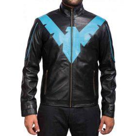 Nightwing Arkham Knight Black Leather Jacket