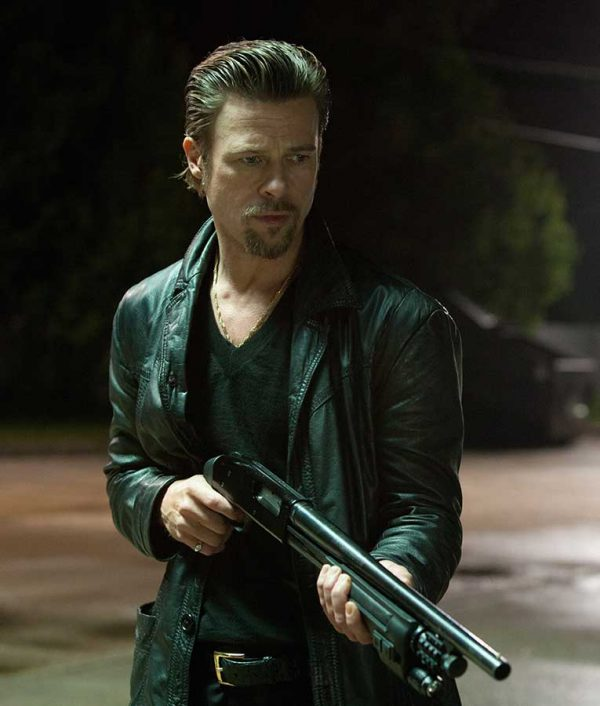 Killing Them Softly Brad pitt Leather Black Jacket