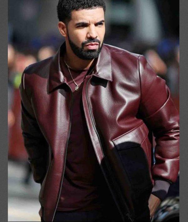 Drake Marron Bomber Leather Jacket