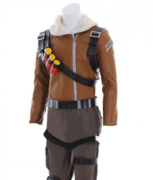 Fortnite Raptor Brown Leather Jacket