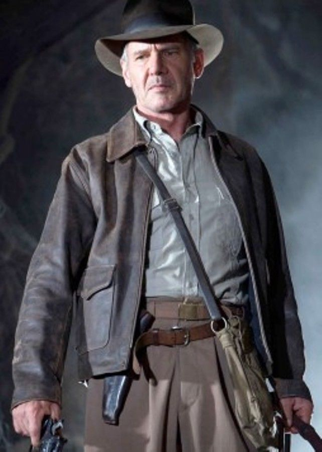 Indiana Jones Harrison Ford Genuine Brown Leather Jacket For Mens