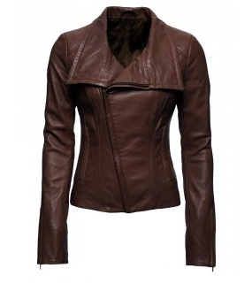 Audrey Marie Anderson Arrow TV Series Brown Leather Jacket