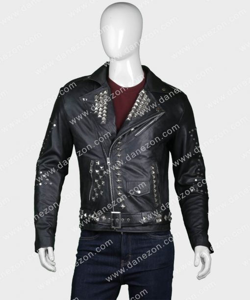 Mens Studded Motorcycle Leather Jacket