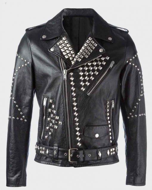 Mens Black Studded Motorcycle Leather Jacket