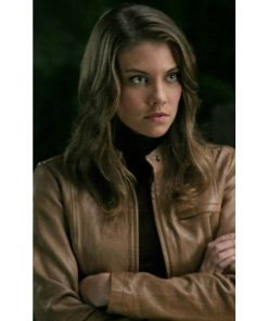 Bela Talbot Supernatural TV Series Brown Leather Jacket