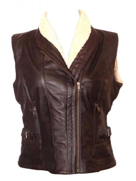 Andrea Harrison The Walking Dead TV Series Brown Leather Vest