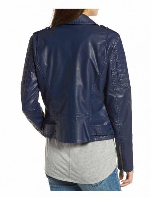 Women Asymmetrical Style Blue Biker Leather Jacket