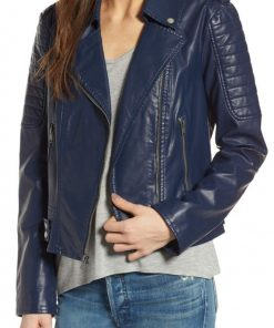 Blue Women Biker Leather Jacket