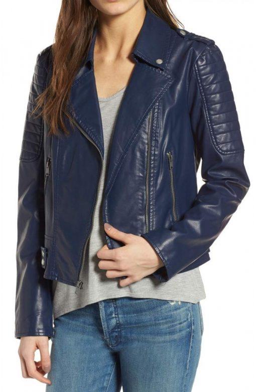 Blue Women Biker Leather Jacket