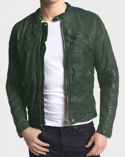 Adrein Brody Green Leather American Heist Frankie Kelly Jacket