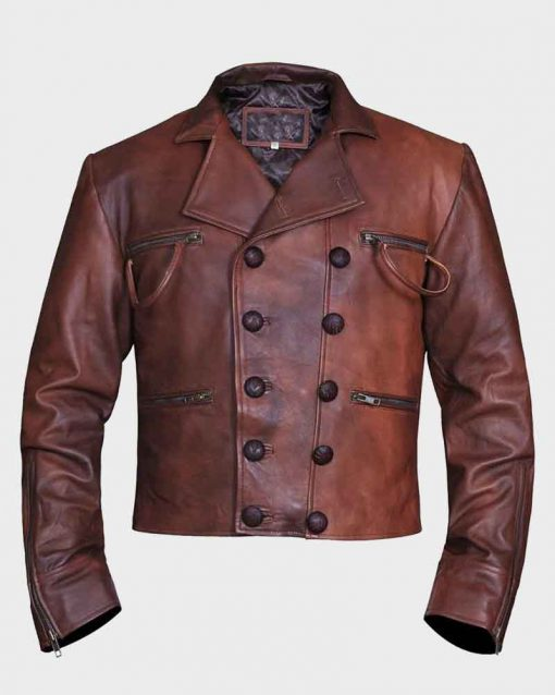Jason Momoa Brown Distressed Leather Aquaman Arthur Curry Jacket