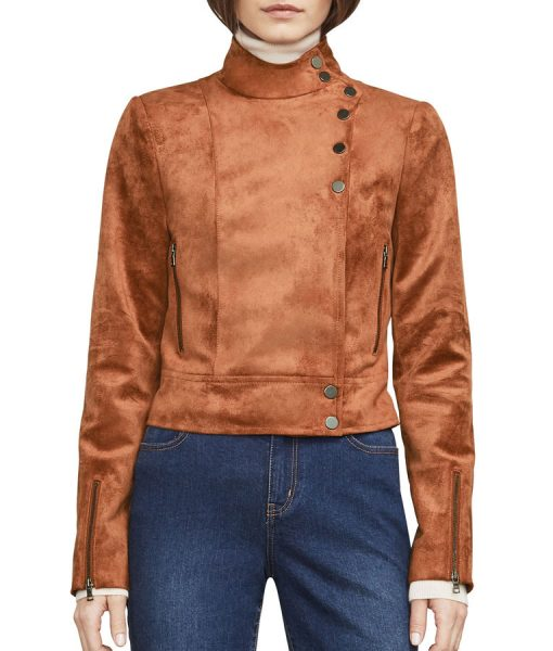 Dinah Drake Arrow TV Series Brown Suede Jacket