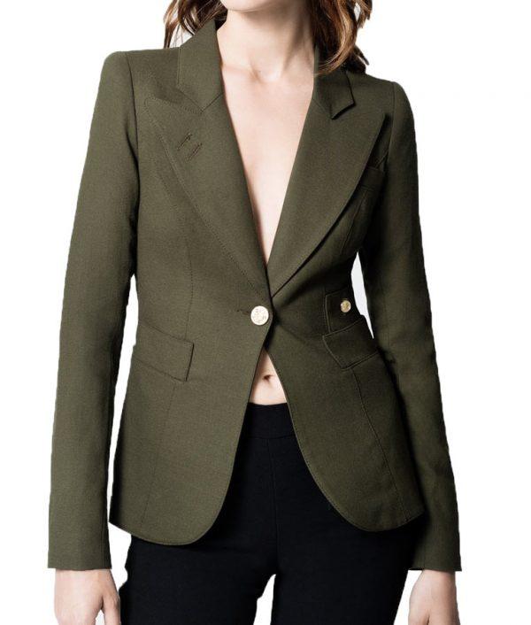 Dinah Drake Arrow Season 4 Green Cotton Blazer