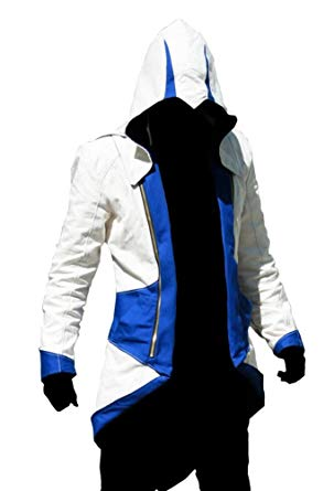 Assassins Creed Video Game White And Blue Coat