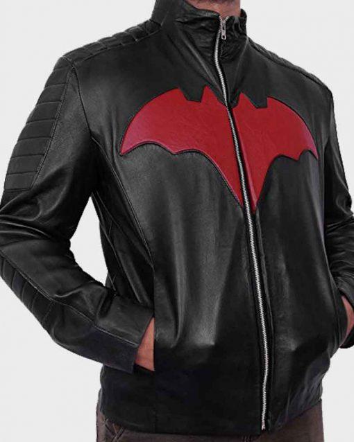 Will Friedle Black Leather Red Bat Logo Batman Beyond Terry McGinnis Jacket