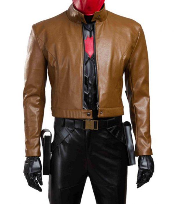 Batman Under the Red Hood Brown Jacket