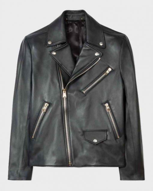 Black Biker Style Beau Knapp Leather Motorcycle Jacket