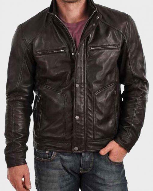 Mens Standard Buttoned Black Cafe Racer Jacket