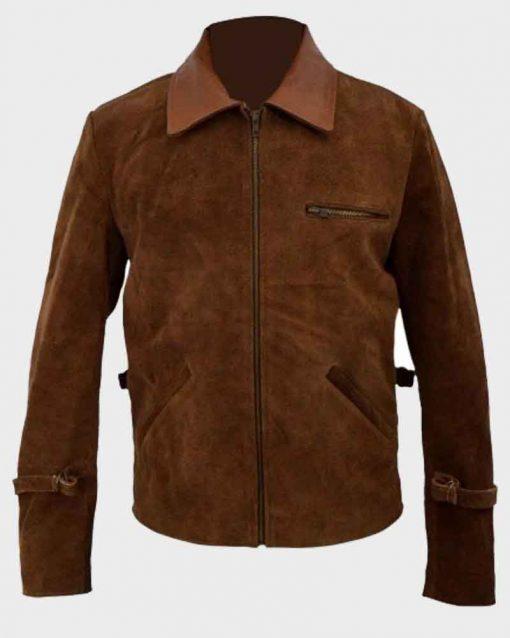 Max Vatan Brown Suede Leather Brad Pitt Allied Jacket