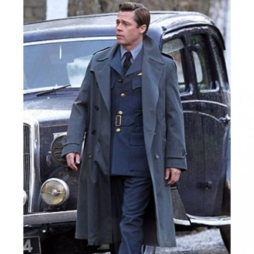 Allied Brad Pitt Long Coat