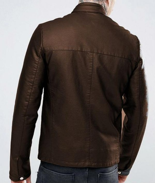 Casual Brown Leather Mens Jacket