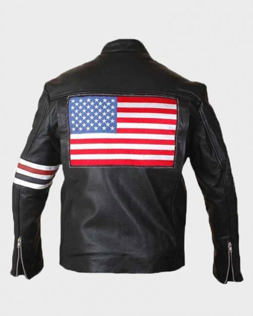 Johnny Knoxville Captain America Easy Rider US Flag Leather Jacket