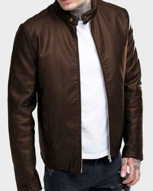 Mens Brown Casual Slimfit Leather Jacket