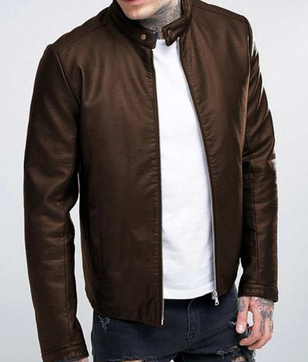 Brown Casual Mens Leather Jacket