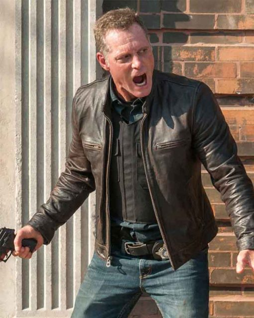 Jason Beghe Chicago P.D. Brown Leather Jacket
