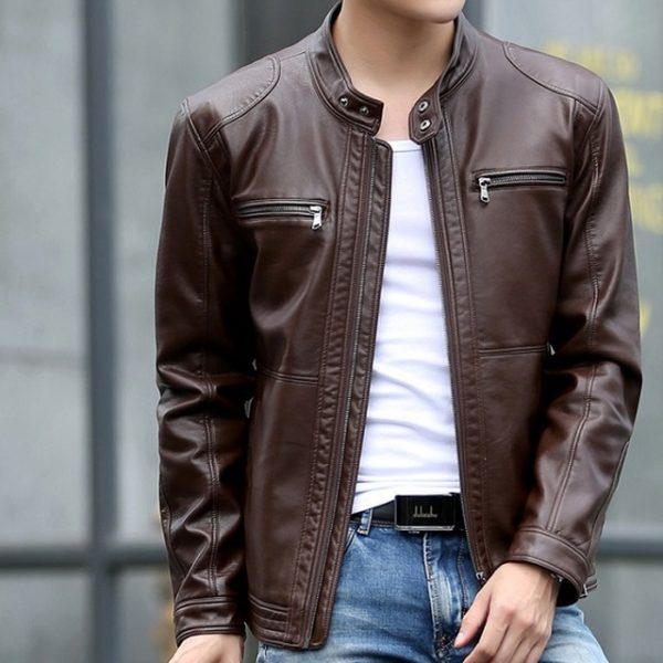 Dark Brown Casual Leather Jacket for Mens