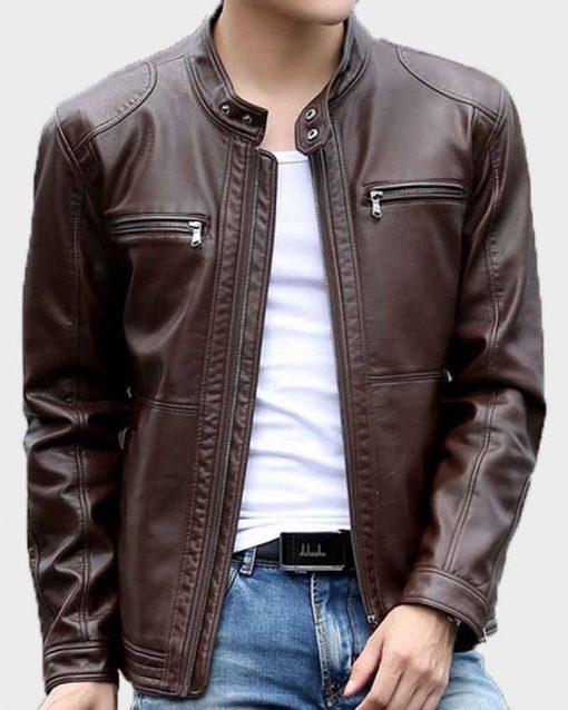 Mens Dark Brown Casual Leather Jacket