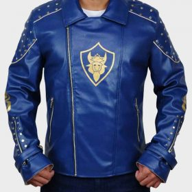 Mitchell Hope Blue Leather Descendants 2 King Ben Jacket with Studs
