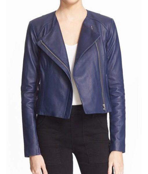 Arrow Emily Bett Blue LeatherJacket