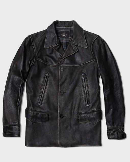 Bruce Willis Black Leather Extraction Leonard Turner Jacket