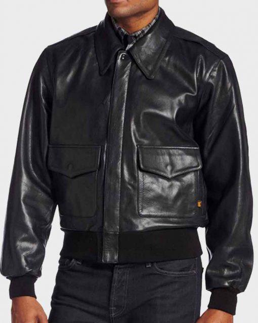 Marc Maron Black Bomber Glow Sam Sylvia Leather Jacket