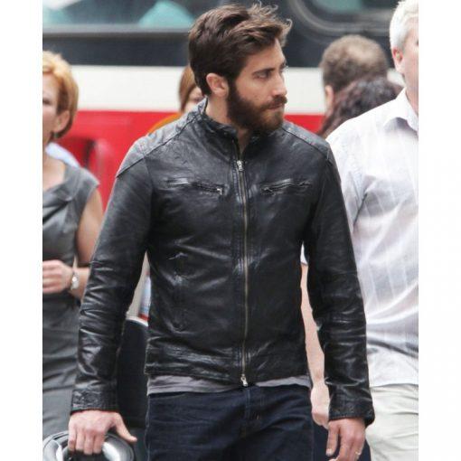 Enemy Jake Gyllenhaal Black Biker Leather Jacket