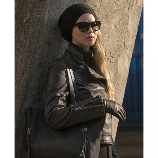 Red Sparrow Jennifer Lawrence Brown Leather Jacket