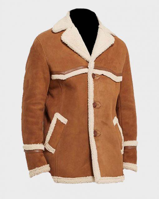 Kingsman The Golden Circle Brown Shearling Harry Hart Jacket