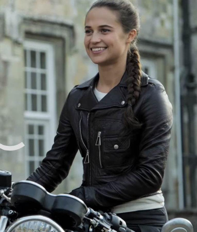 Alicia Vikander Tomb Raider: Alicia Vikander Tomb Raider Lara Croft Black Biker Leather