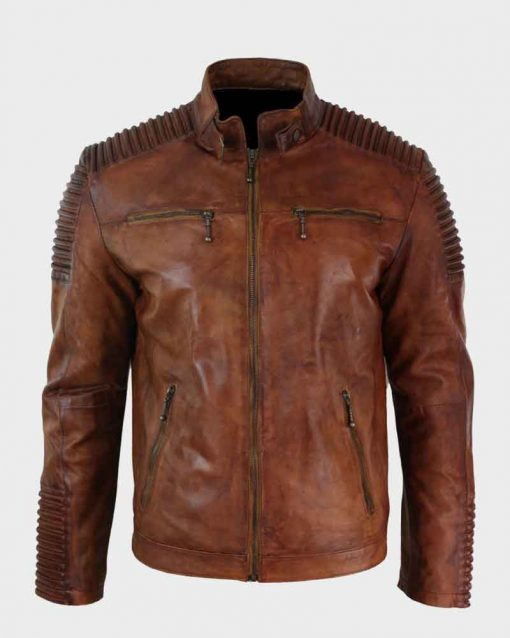 Mens Vintage Cafe Racer Brown Distressed Leather Jacket
