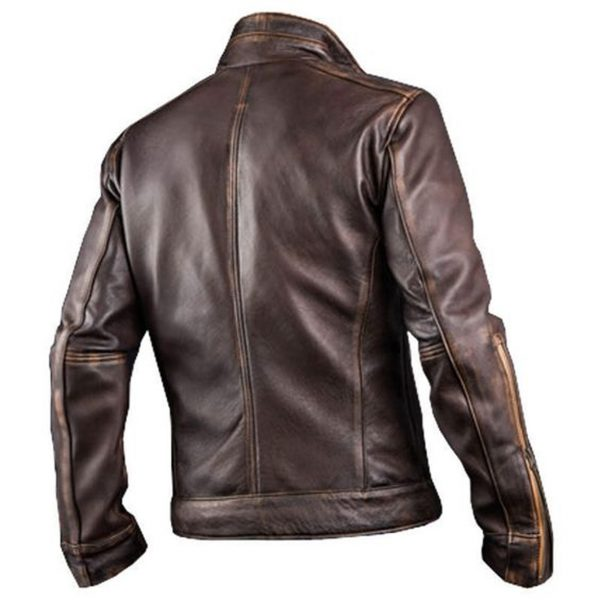 Mens Cafe Racer Style Distressed Brown Leather Jacket