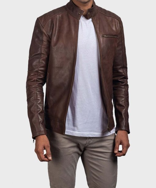 Casual Brown Mens Slimfit Leather Jacket