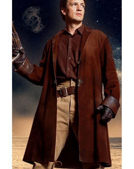Nathan Fillion Firefly TV Series Brown Suede Leather Coat