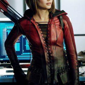 Arrow Speedy Arsenal Red Leather Women Jacket