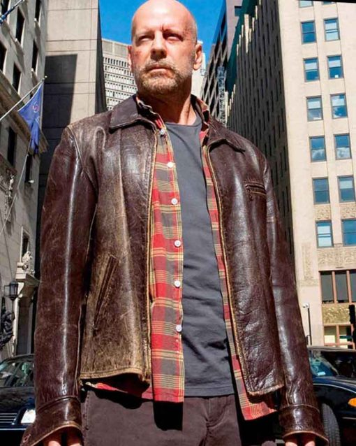 Bruce Willis Brown Distressed Leather Surrogates Greer Jacket