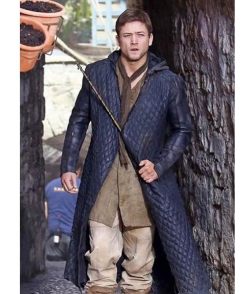 Taron Egerton Robin Hood Quilted Trench Hooded Coat