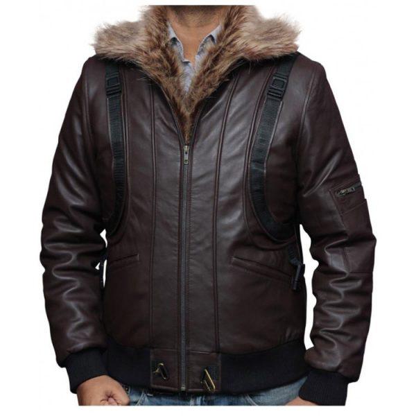 Vulture Michael Keaton Fur Collar Leather Jacket