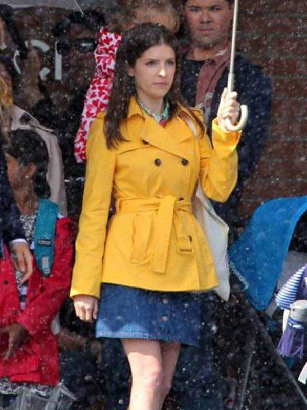 Anna Kendrick A Simple Favor Yellow Mid Length Coat