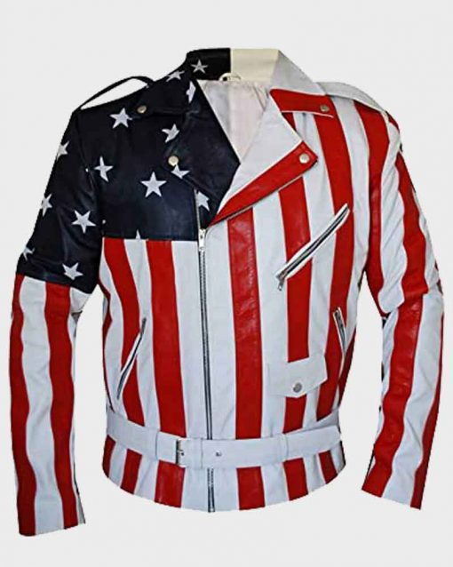 Vanilla Ice Mens Leather American Flag Motorcycle  Jacket